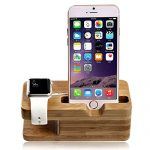Apple Watch Stand, Lamavido Soporte de iWatch Soporte Cargador Madera de Bambú para iPhone 6 Plus/6/5S/5/4S